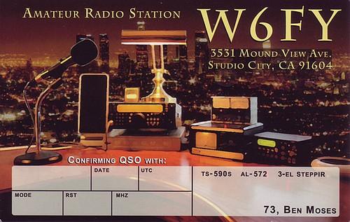 Carte QSL de la station amateur californienne W6FY, opérateur Ben Moses