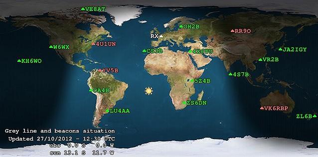 Carte des emplacements et indicatifs des balises 10m du réseau NCDXF/IARU.