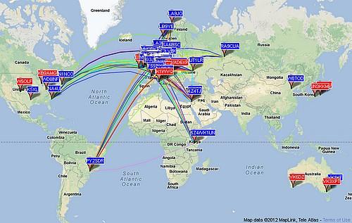Liaisons sur 10m recensées sur WSPRnet (Weak Signal Propagation Reporter Network)